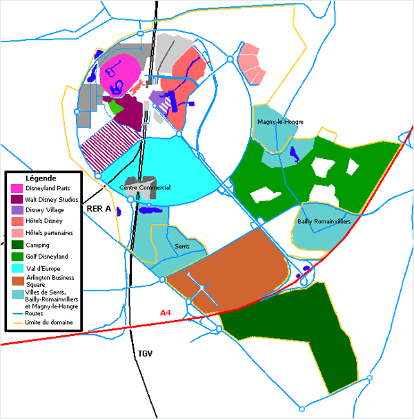 Plan schématique du complexe de Disneyland Paris